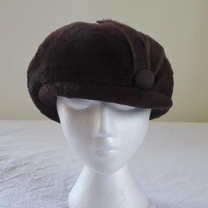 "VTG 60's Wool Dome Hat Dark Brown 22.5"""